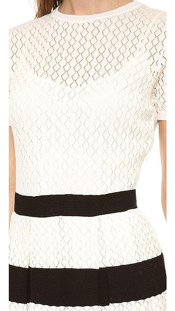 RED Valentino Ruffle Knit Short Sleeve Dress