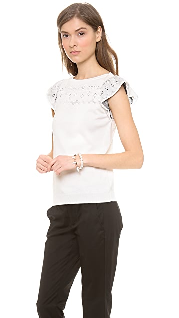 RED Valentino Flutter Sleeve Knit Top
