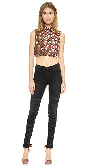 RED Valentino Pop Leopard Print Crop Top