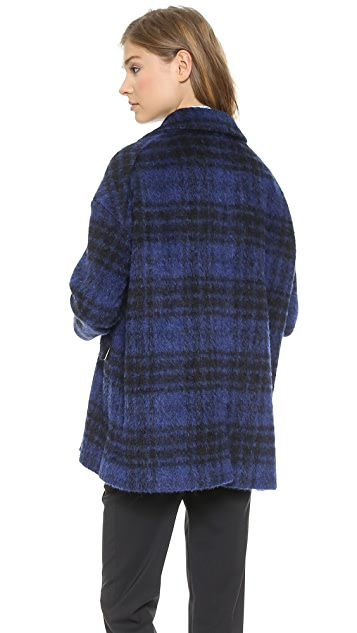 RED Valentino Faded Check Coat