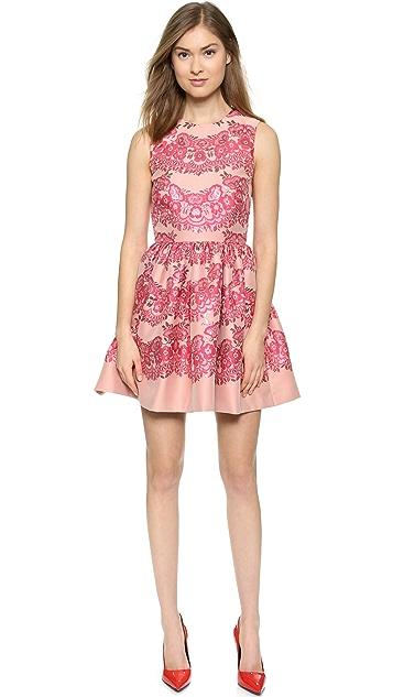 RED Valentino Платье из кружева и парчи