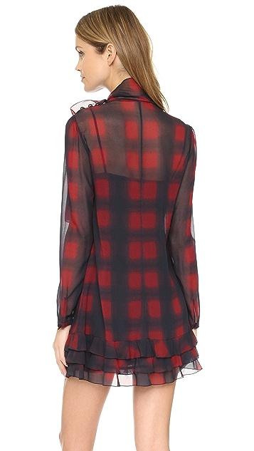 RED Valentino Tie Neck Long Sleeve Dress