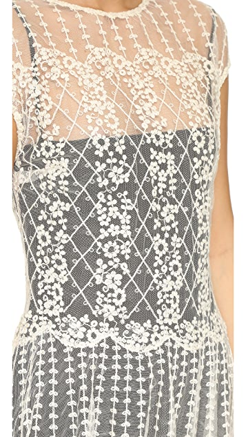 RED Valentino Sheer Lace Over Dress