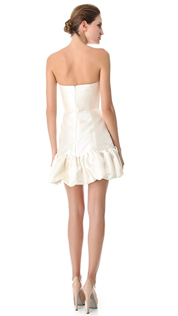 Reem Acra Silk Gazaar Dress with Trimmed Hem