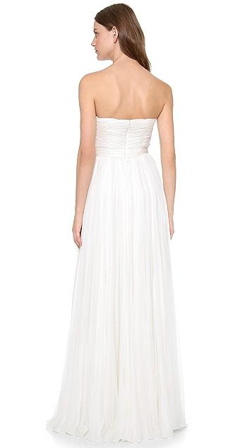 Reem Acra Flourish Strapless Gown
