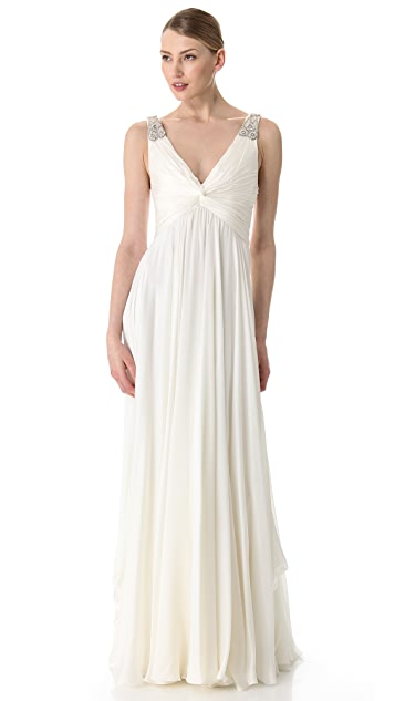 Reem Acra V Neck Gown with Jeweled Straps