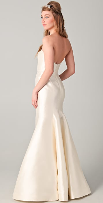 Reem Acra Strapless Silk Mermaid Gown