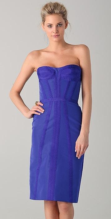 Reem Acra Strapless Bustier Dress