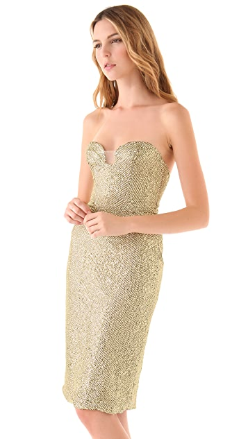 Reem Acra Strapless Beaded Cocktail Dress