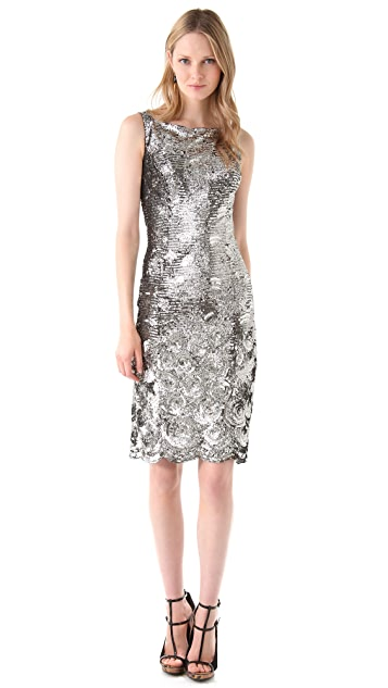 Reem Acra Sequined Organza Sheath Dress
