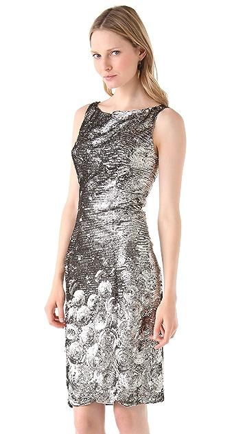 Reem Acra Sequined Organza Sheath Dress