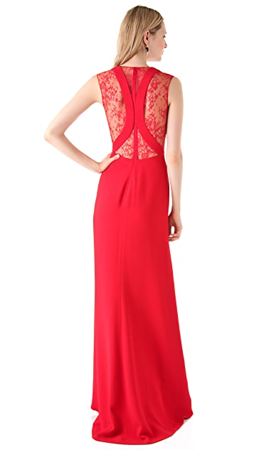 Reem Acra Deep V Gown with Lace Trim