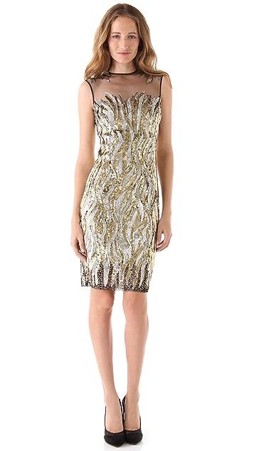 Reem Acra Firebird Beaded Tulle Dress