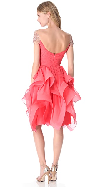 Reem Acra Ruffled Organza Dress
