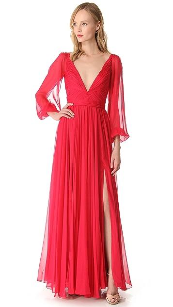 Reem Acra Flowing Bell Sleeve Dress