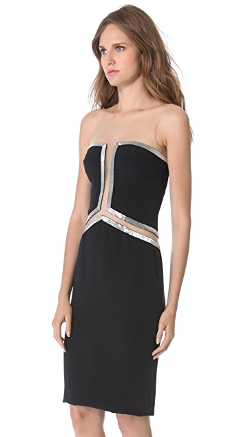 Reem Acra Beaded Cutout Dress