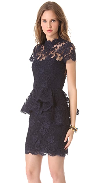 Reem Acra Jewel Neck Lace Dress