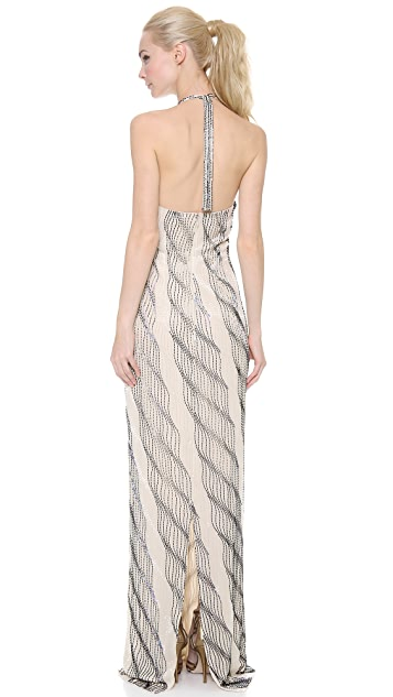 Reem Acra Spiral Beaded Halter Gown