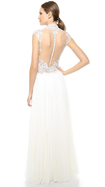 Reem Acra Full Skirt Gown with Beaded Bodice
