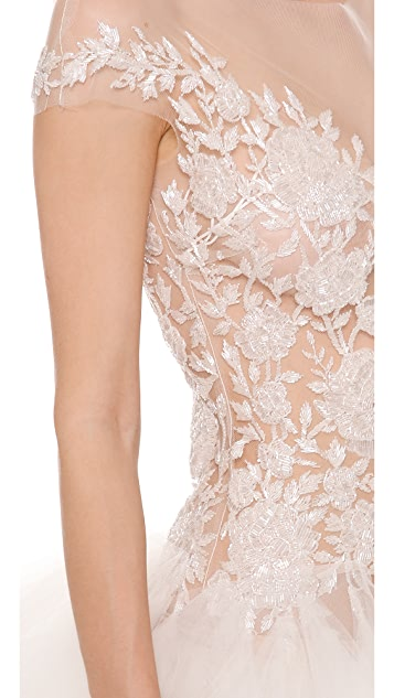 Reem Acra Beaded Cap Sleeve Dress