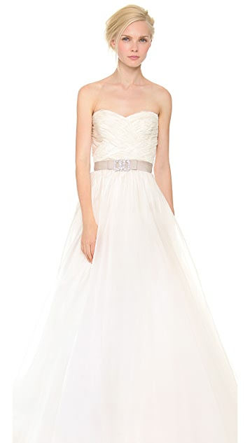 Reem Acra Strapless Gown