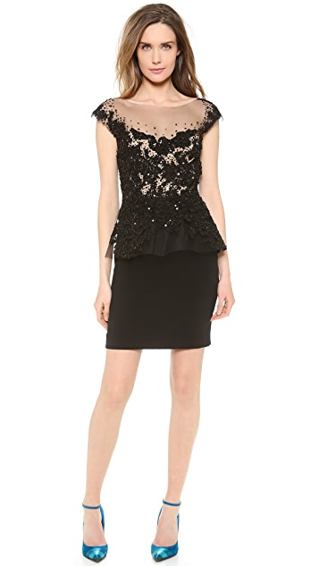 Reem Acra Embroidered Peplum Dress