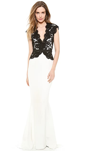 Reem Acra Cap Sleeve Gown