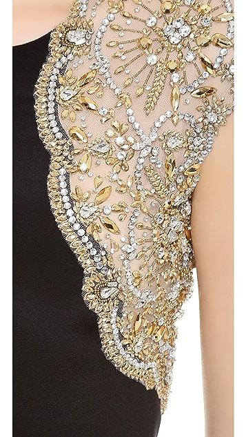 Reem Acra Silk Crepe Column Gown