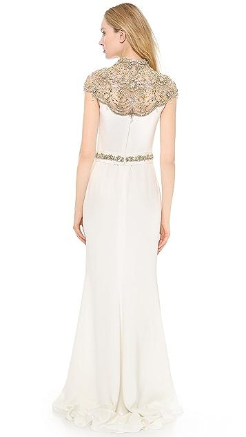 Reem Acra Silk Crepe Gown