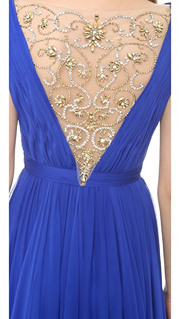 Reem Acra Silk Chiffon Illusion V Neck Gown
