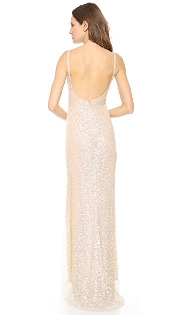 Reem Acra Embroidered Scoop Neck Gown