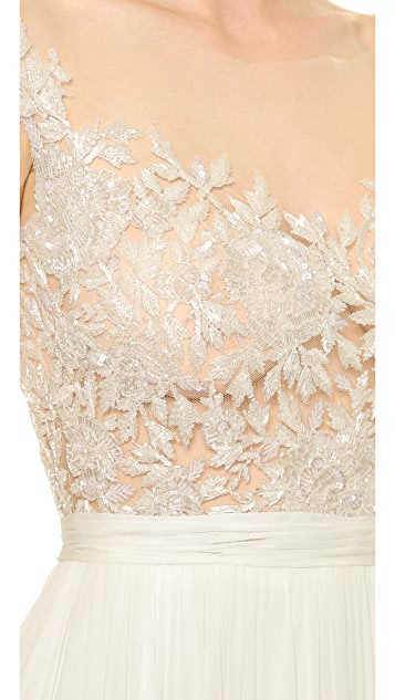 Reem Acra Juliet Embroidered Illusion Off Shoulder Gown