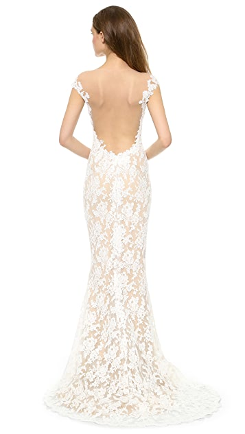 Reem Acra Lace Low Back Gown