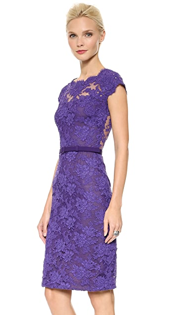 Reem Acra Bateau Lace Sheath Dress
