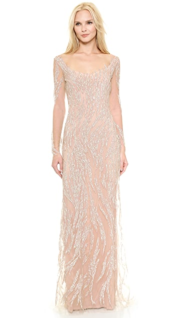 c4f3576397ed3 Reem Acra Embroidered Illusion Swirl Gown | SHOPBOP