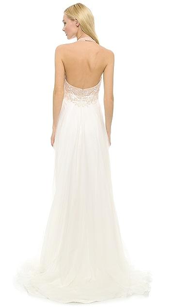 Reem Acra Edgy Girl Halter Gown
