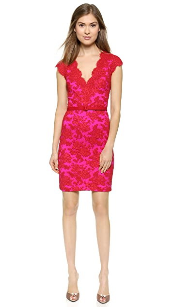 Reem Acra Two Tone Lace Dress