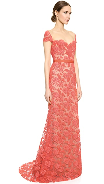 Reem Acra Re-Embroidered Lace Gown
