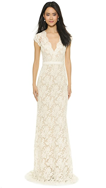 6d8990c9747 Reem Acra I m Married Lace Gown