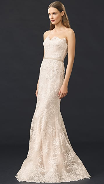 Reem Acra I'm Beautiful Strapless Gown