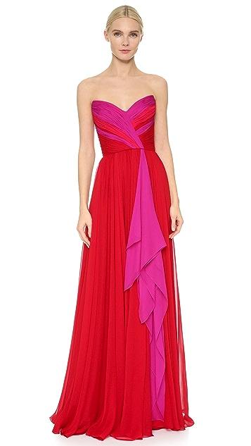Reem Acra Strapless Chiffon Gown
