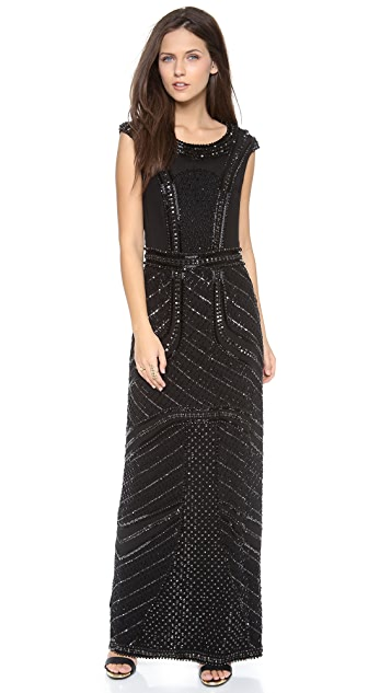 Renzo + Kai Beaded Cap Sleeve Gown