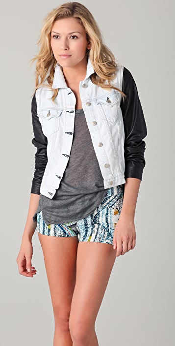 Rag & Bone/JEAN The Jean Jacket with Leather Sleeves