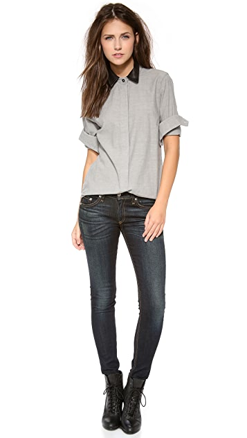 Rag & Bone/JEAN The Classic Shirt with Leather Collar
