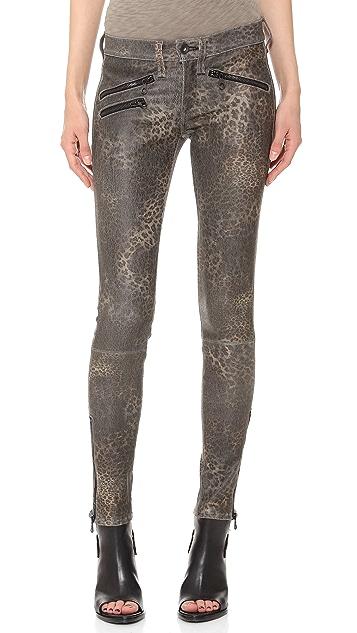 Rag & Bone/JEAN RBW 23 Leather Leopard Pants