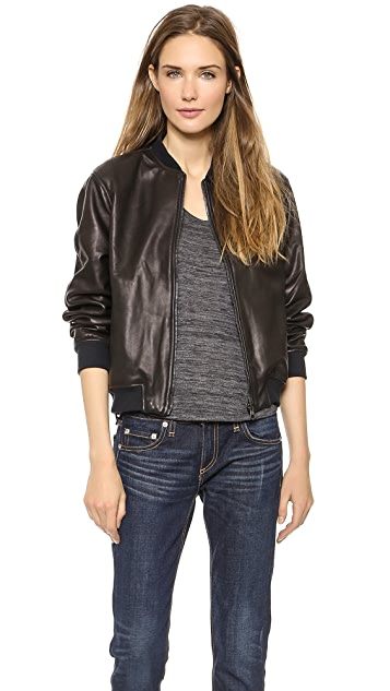 Rag & Bone/JEAN The Leather Bomber Jacket