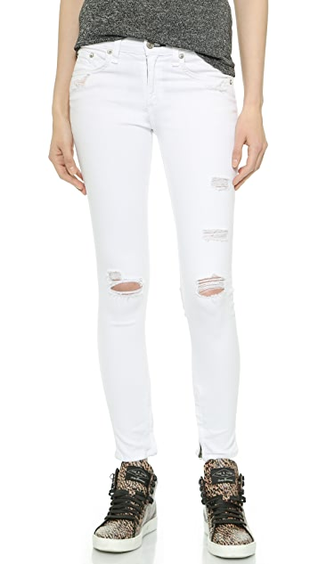 Rag & Bone/JEAN The Shredded Zipper Capri Jeans