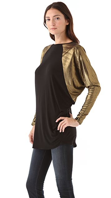 Riller & Fount Amos Raglan Tunic with Metallic Sleeves