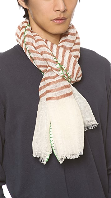 Richard James Linen Scarf with Blanket Stitch