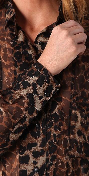 Rebecca Minkoff Kate Leopard Blouse